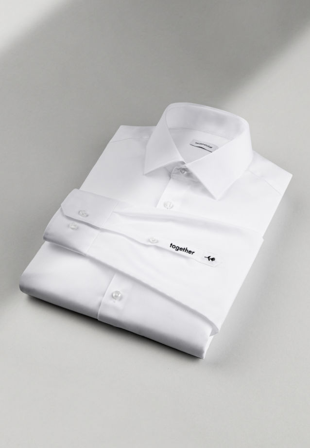"Non-iron ""together"" Signature-Shirt in Slim with Kent-Collar in White 