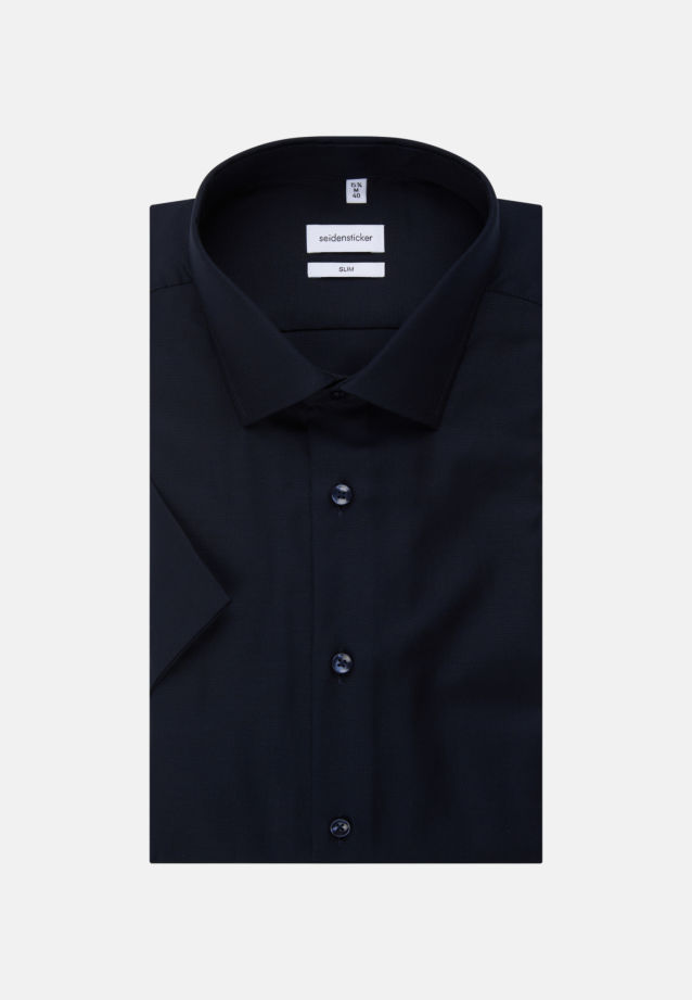 Non-iron Structure Short sleeve Business Shirt in Slim with Kent-Collar in Dark blue |  Seidensticker Onlineshop