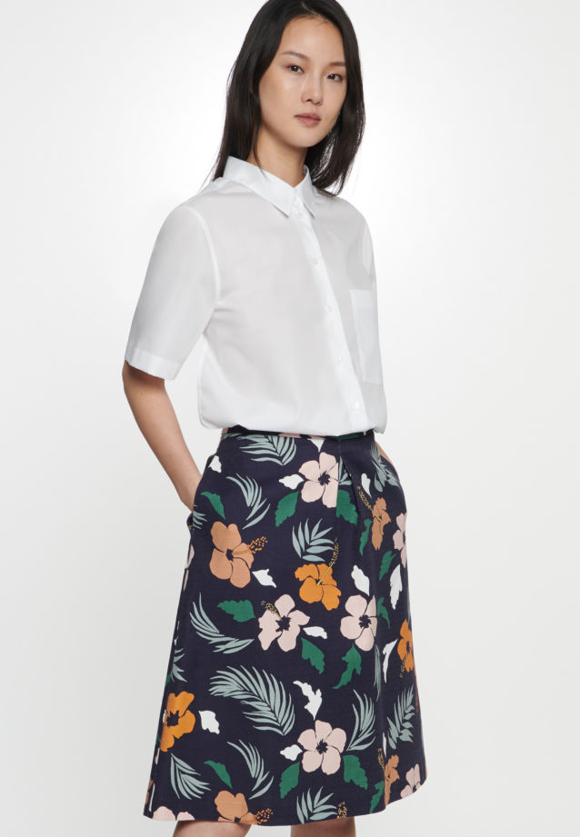Structure Midi Skirt made of cotton blend in Dark blue |  Seidensticker Onlineshop