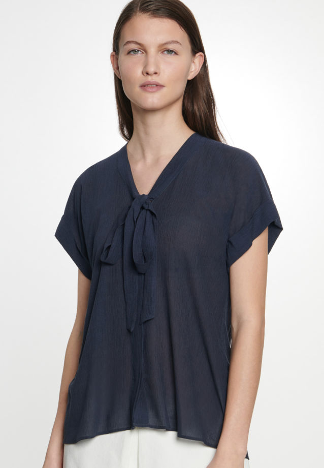 Short sleeve Voile Tie-Neck Blouse made of viscose blend in Dark blue |  Seidensticker Onlineshop