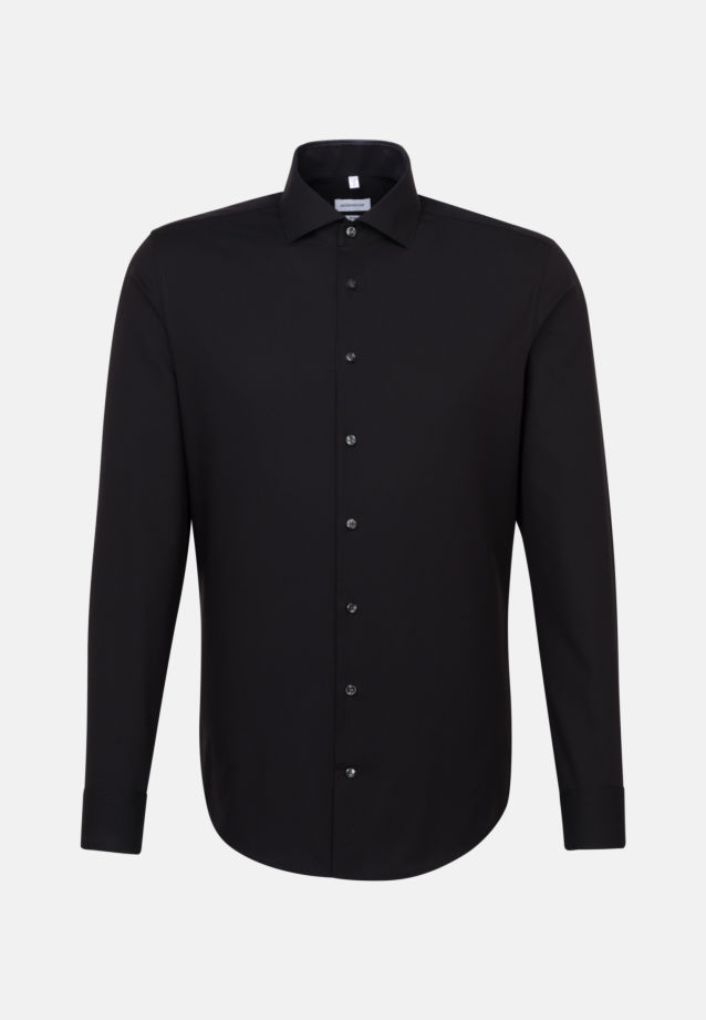 Non-iron Fil a fil Business Shirt in Slim with Kent-Collar in Black |  Seidensticker Onlineshop