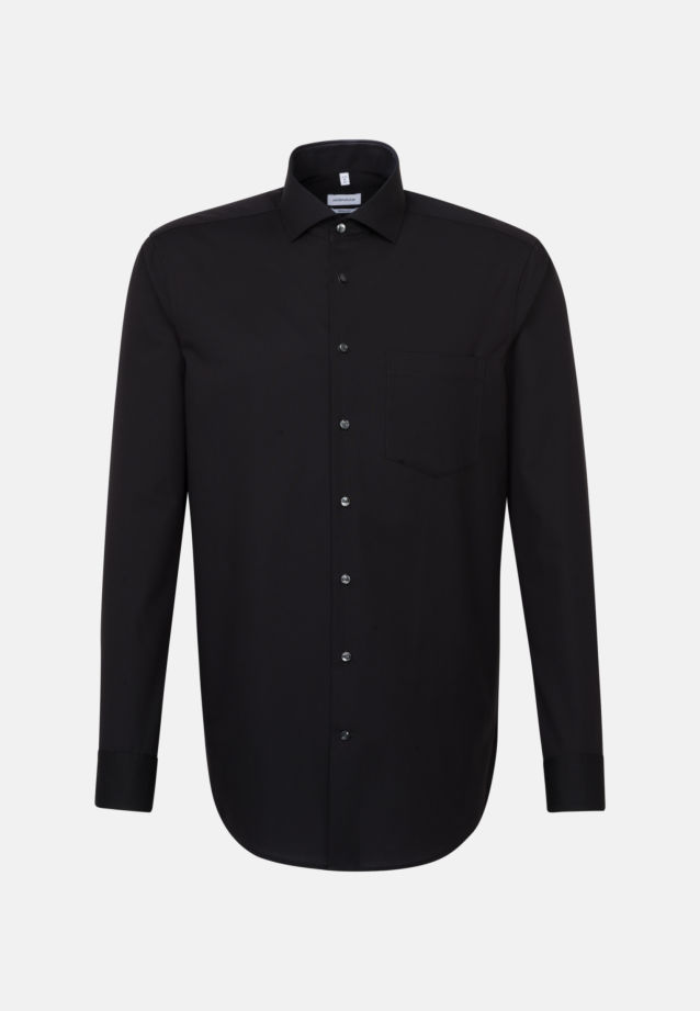 Non-iron Fil a fil Business Shirt in Regular with Kent-Collar in Black |  Seidensticker Onlineshop