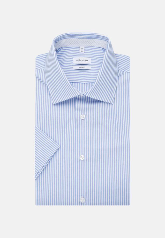 Bügelfreies Popeline Kurzarm Business Hemd in Shaped mit Kentkragen in Hellblau |  Seidensticker Onlineshop