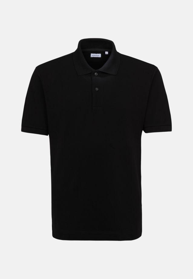 Kragen Polo-Shirt aus 100% Baumwolle in Schwarz |  Seidensticker Onlineshop