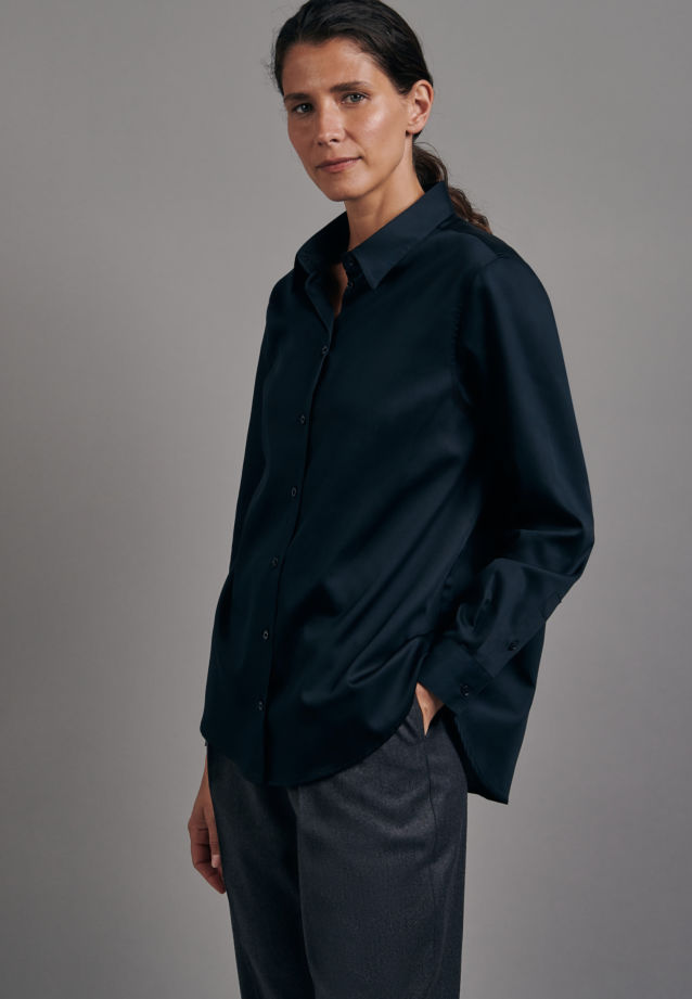 Satin Shirt Blouse made of 100% Cotton in Black |  Seidensticker Onlineshop