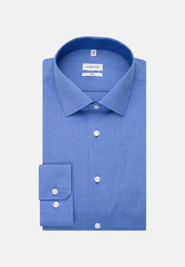 Non-iron Fil a fil Business Shirt in Slim with Kent-Collar in Mittelblau |  Seidensticker Onlineshop