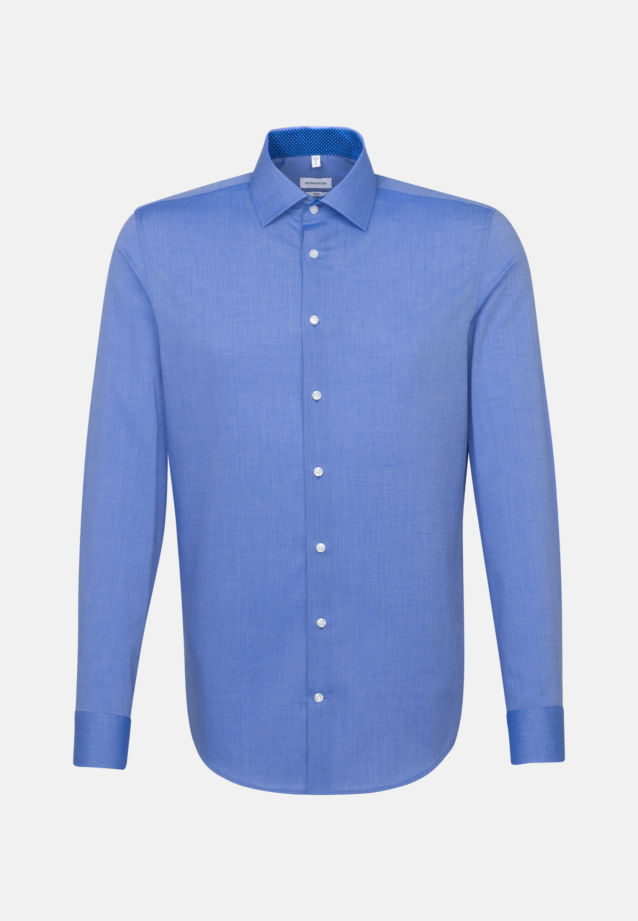 Non-iron Fil a fil Business Shirt in Slim with Kent-Collar in Mittelblau |  Seidensticker Onlineshop