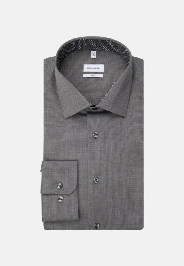 Non-iron Fil a fil Business Shirt in Slim with Kent-Collar in Dunkelgrau |  Seidensticker Onlineshop