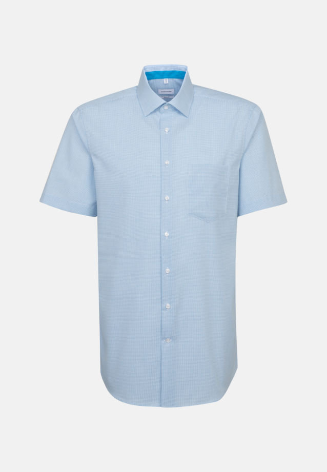 Non-iron Poplin Short sleeve Business Shirt in Regular with Kent-Collar in Turquoise |  Seidensticker Onlineshop