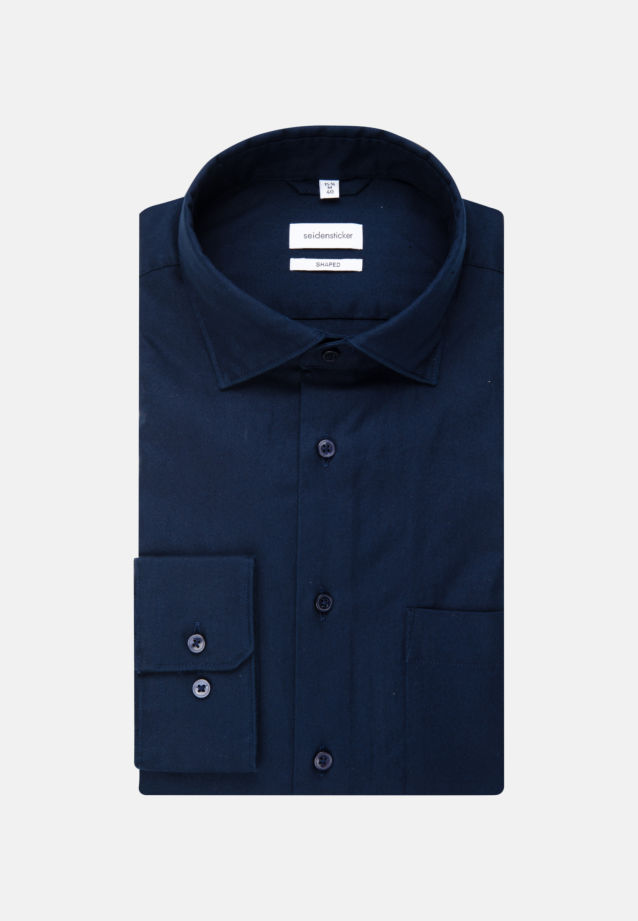 Non-iron Twill Business Shirt in Regular with Kent-Collar in Dunkelblau |  Seidensticker Onlineshop