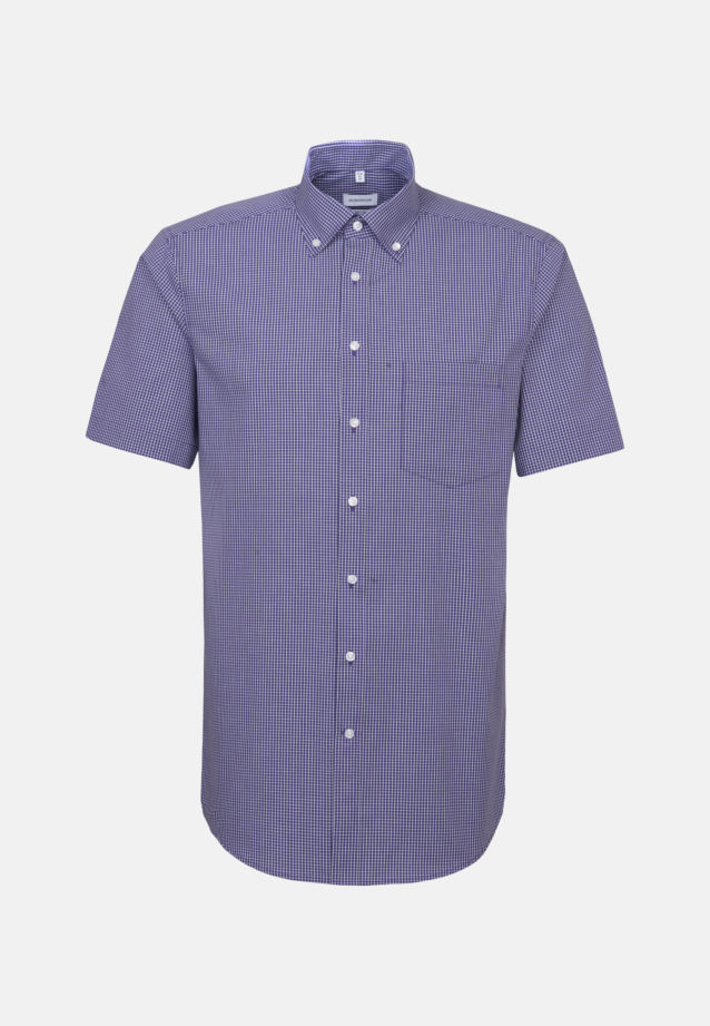 Non-iron Poplin Short sleeve Business Shirt in Regular with Button-Down-Collar in Purple |  Seidensticker Onlineshop