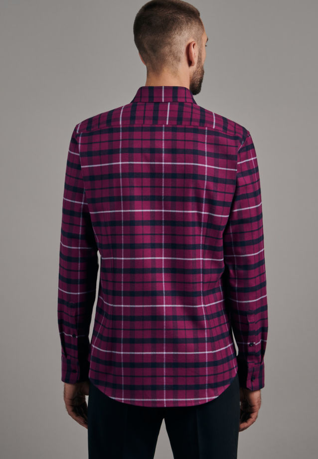 Flannel Business Shirt in Slim with Button-Down-Collar in Pink |  Seidensticker Onlineshop