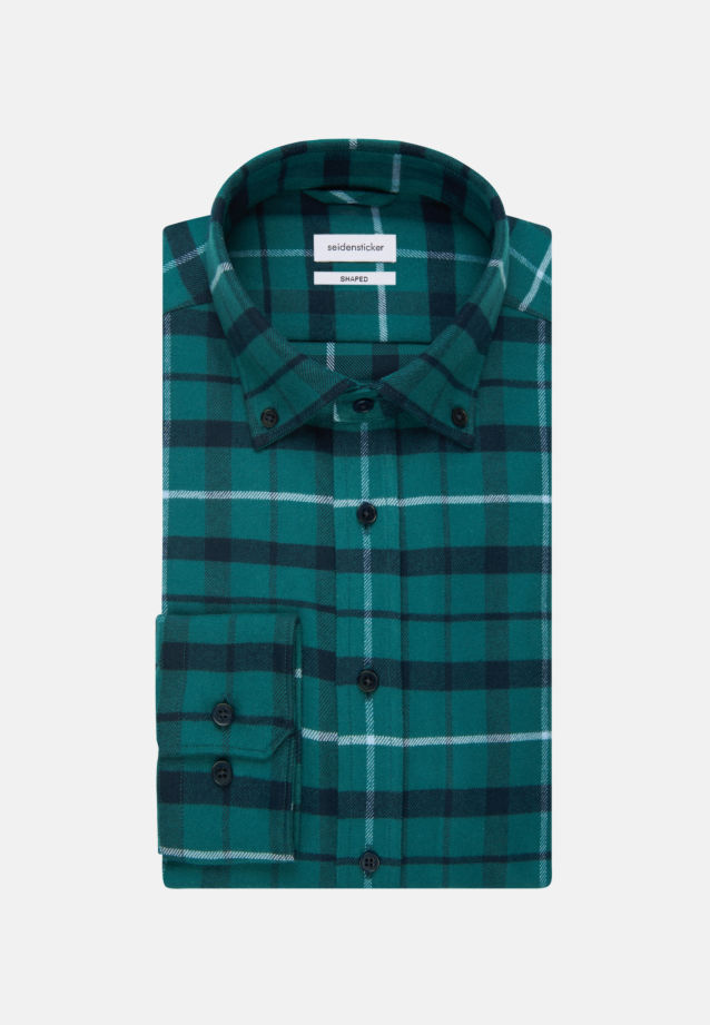 Flanell Business Hemd in Shaped mit Button-Down-Kragen in Grün |  Seidensticker Onlineshop