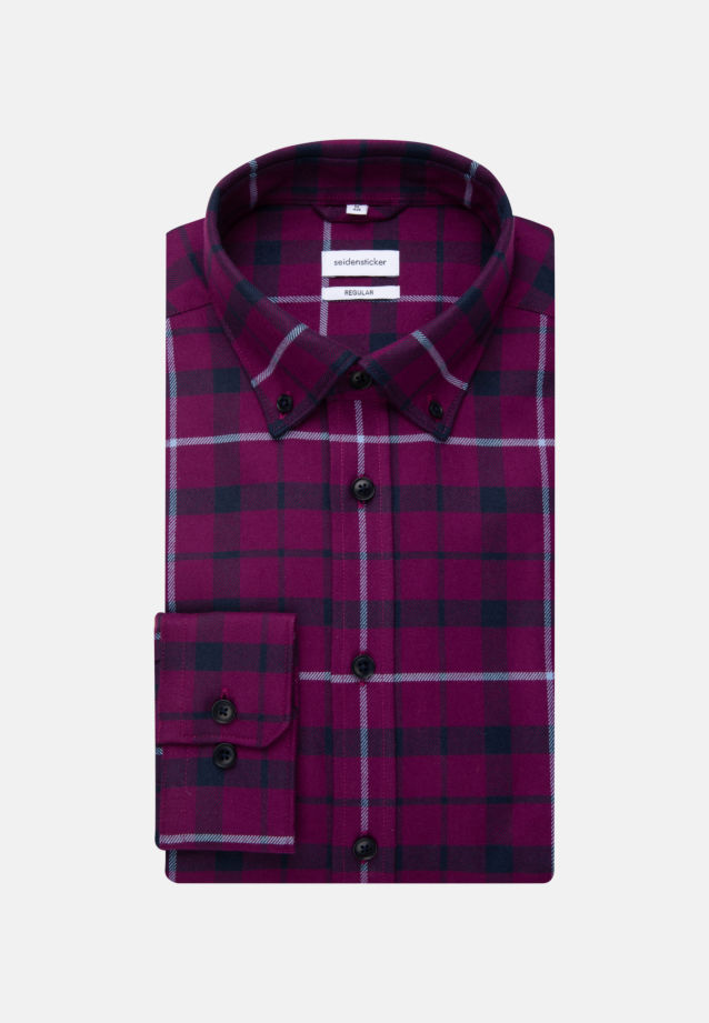 Flannel Business Shirt in Regular with Button-Down-Collar in Pink |  Seidensticker Onlineshop