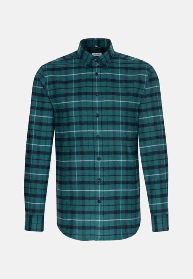 Flannel Business Shirt in Regular with Button-Down-Collar in Green |  Seidensticker Onlineshop
