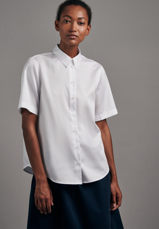 Short sleeve Satin Shirt Blouse made of 100% Cotton in White |  Seidensticker Onlineshop