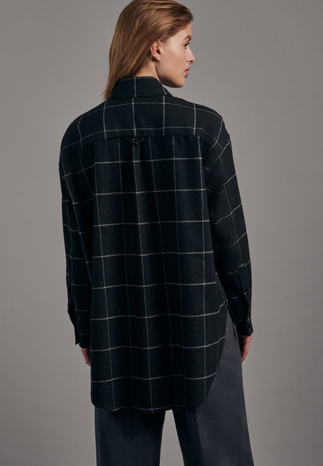 Flannel Long Blouse made of wool blend in Grey |  Seidensticker Onlineshop