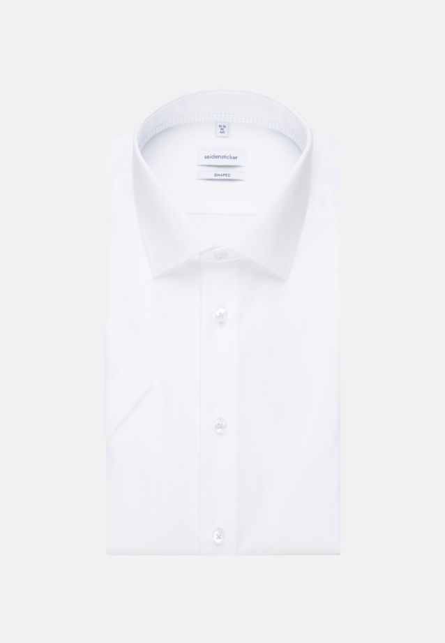 Non-iron Poplin Short sleeve Business Shirt in Shaped with Kent-Collar in White |  Seidensticker Onlineshop