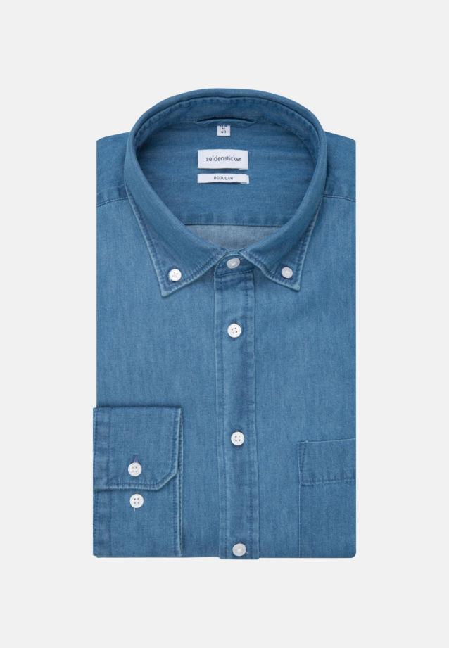 Bügelleichtes Denim Business Hemd in Regular mit Button-Down-Kragen in Mittelblau |  Seidensticker Onlineshop