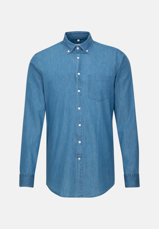 Bügelleichtes Denim Business Hemd in Regular mit Button-Down-Kragen in Mittelblau |  Seidensticker Onlineshop