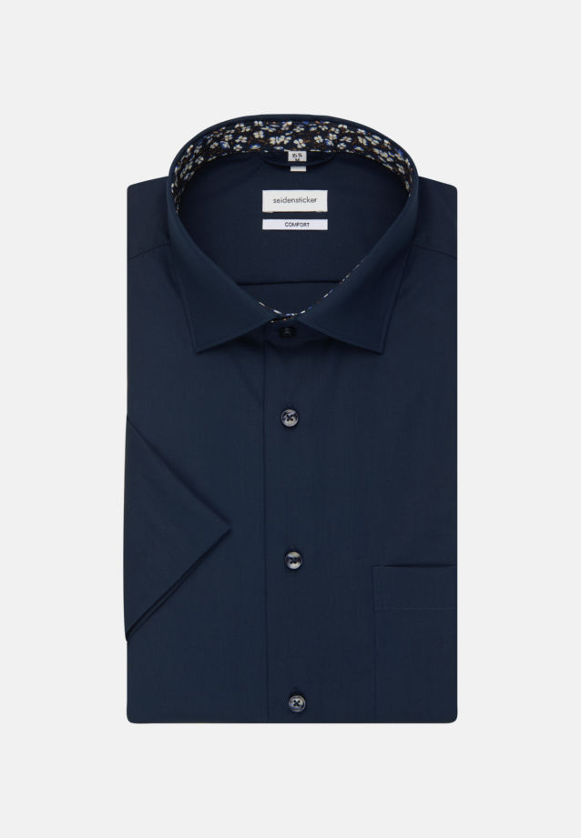 Non-iron Poplin Short sleeve Business Shirt in Comfort with Kent-Collar in Dark blue |  Seidensticker Onlineshop
