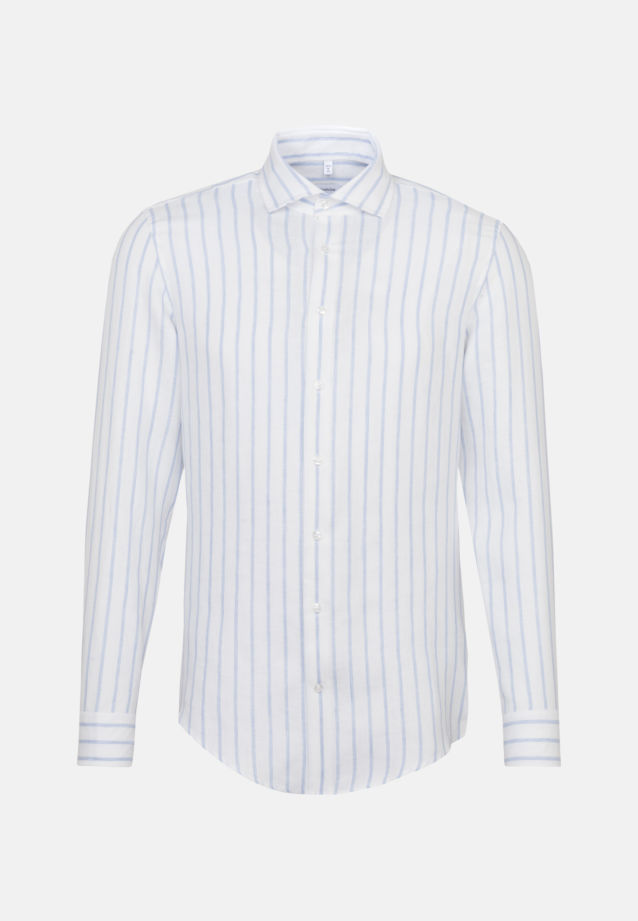 Bügelleichtes Leinen Business Hemd in Regular mit Kentkragen in Hellblau |  Seidensticker Onlineshop