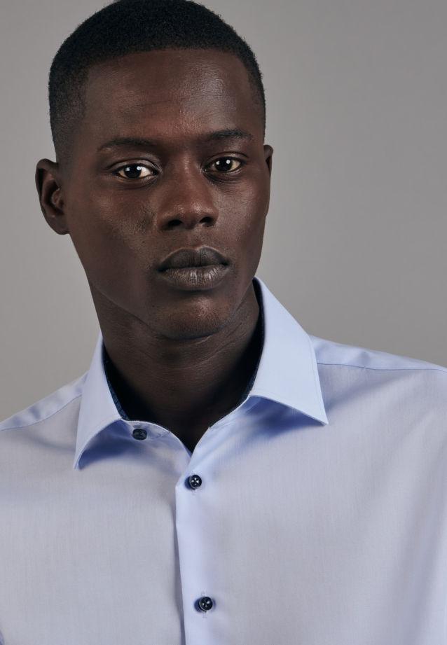 Non-iron Poplin Business Shirt in Shaped with Kent-Collar in Medium blue |  Seidensticker Onlineshop