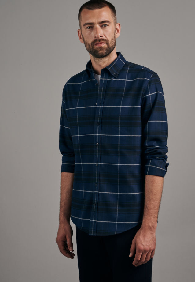 Flannel Business Shirt in Shaped with Button-Down-Collar in Dark blue |  Seidensticker Onlineshop