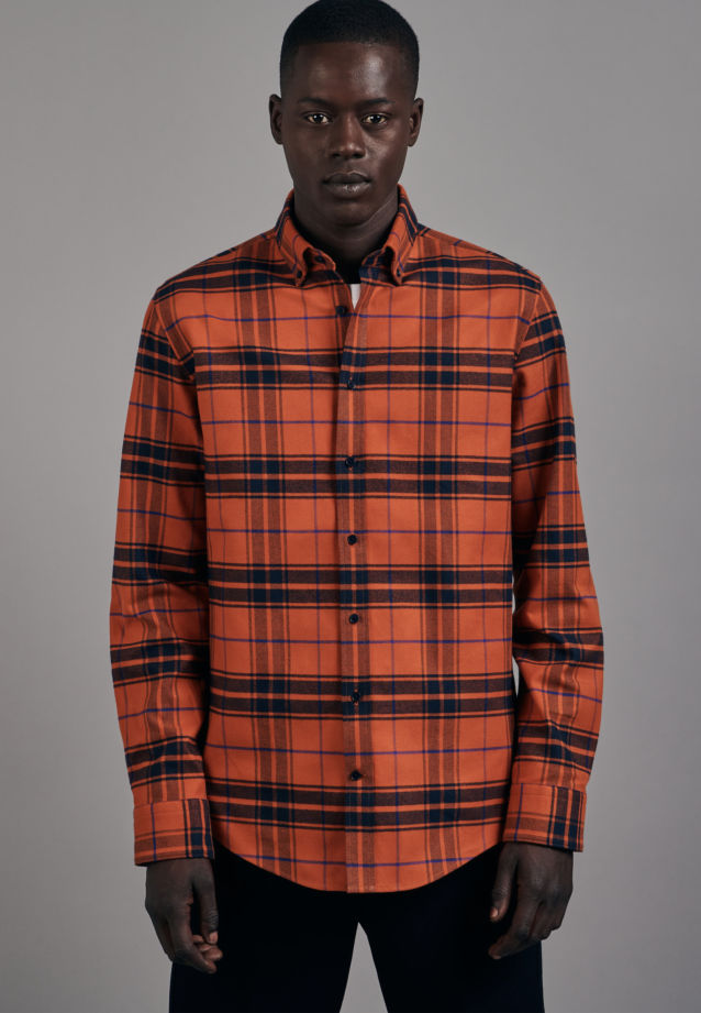 Flanell Business Hemd in Shaped mit Button-Down-Kragen in Orange |  Seidensticker Onlineshop