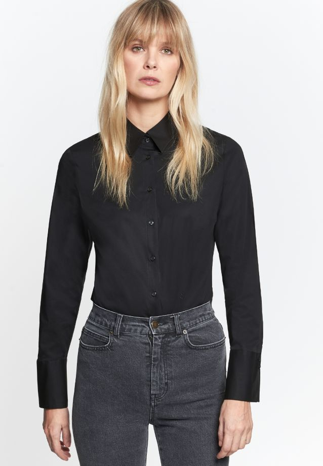 Poplin Body Blouse made of 96% Cotton 4% Elastane in schwarz |  Seidensticker Onlineshop
