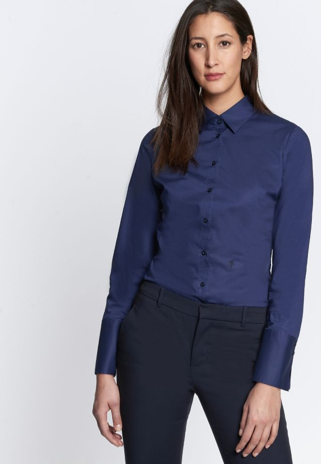Poplin Body Blouse made of cotton blend in Dark blue |  Seidensticker Onlineshop