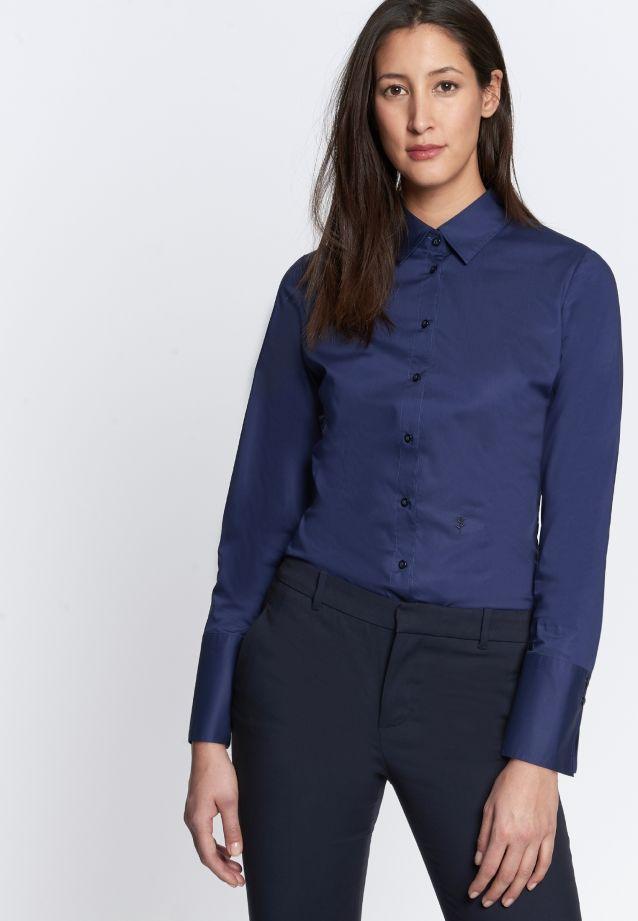 Poplin Body Blouse made of cotton blend in Dark blue |  Seidensticker Onlineshop