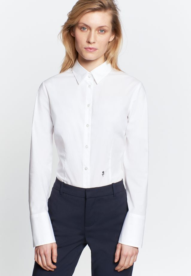 Poplin Body Blouse made of cotton blend in White |  Seidensticker Onlineshop