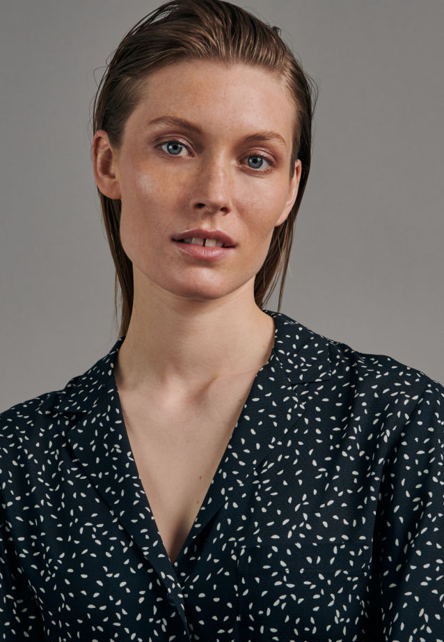 Jacquard Lapel Collar Blouse made of 100% Viscose in Dark blue |  Seidensticker Onlineshop