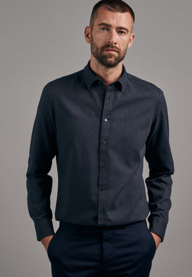 Panama Business Hemd in Shaped mit Button-Down-Kragen in Grau |  Seidensticker Onlineshop
