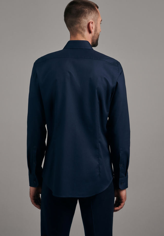 Twill Business Shirt in Slim with Kent-Collar in Dark blue |  Seidensticker Onlineshop