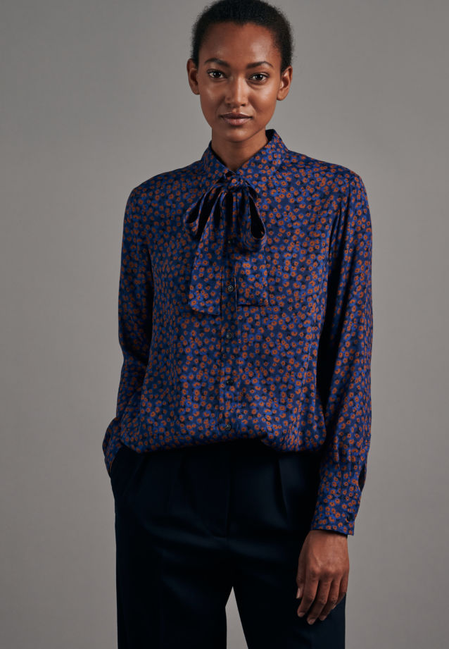 Poplin Tie-Neck Blouse made of 100% Viscose in Medium blue |  Seidensticker Onlineshop