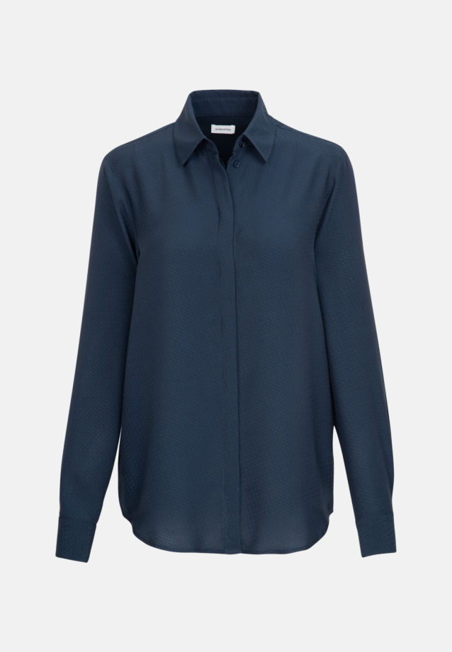 Jacquard Shirt Blouse made of 100% Viscose in Dark blue |  Seidensticker Onlineshop