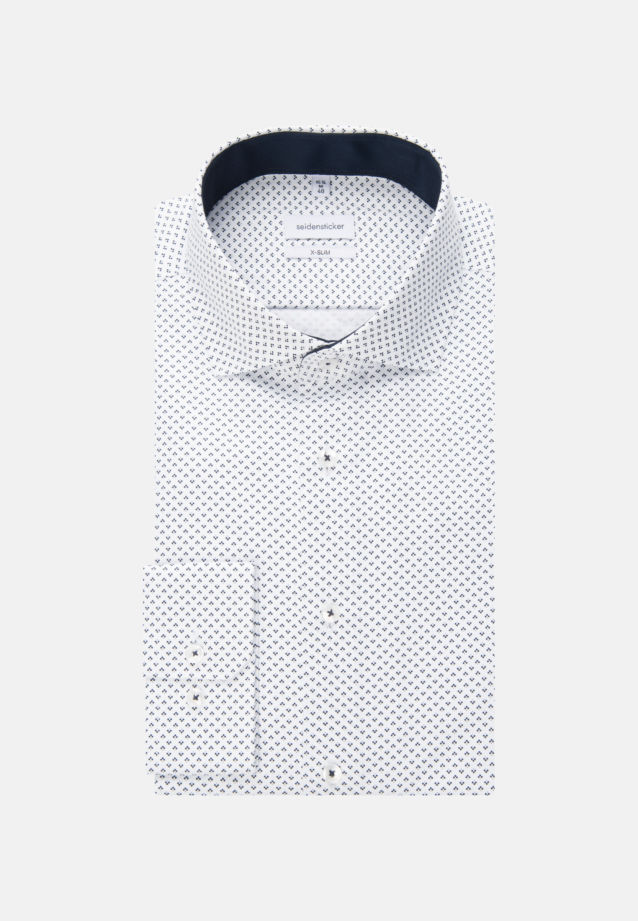 Easy-iron Twill Business Shirt in Slim with Kent-Collar and extra long sleeve in Dark blue |  Seidensticker Onlineshop