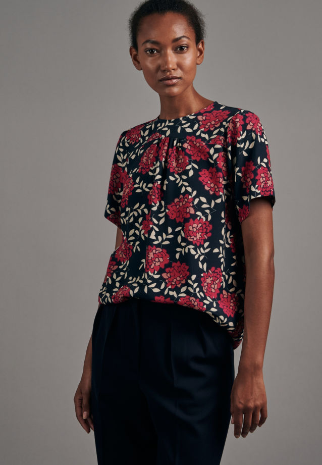 Kurzarm Krepp Shirtbluse aus 100% Viskose in Dunkelblau |  Seidensticker Onlineshop