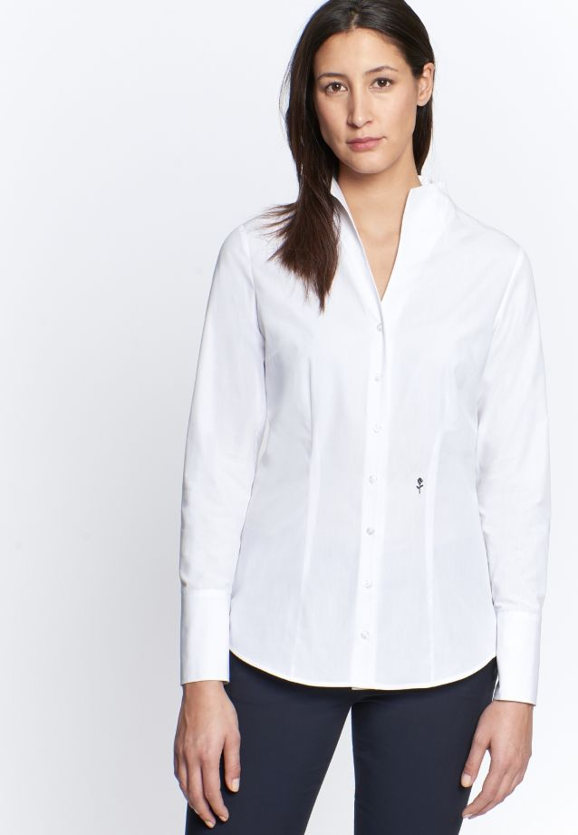 Non-iron Poplin Chalice Blouse made of 100% Cotton in weiß |  Seidensticker Onlineshop