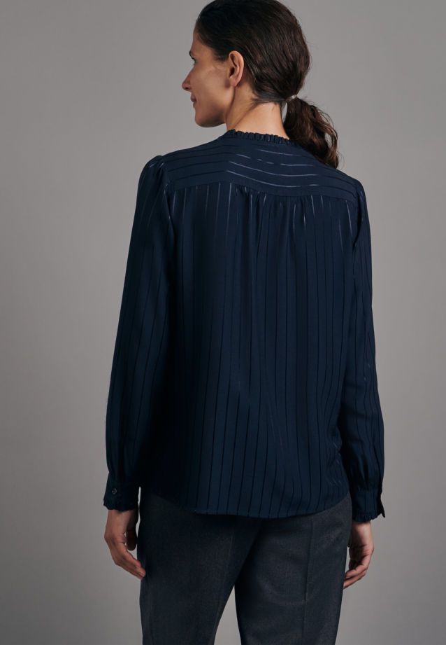 Satin Stand-Up Blouse made of viscose blend in Dark blue |  Seidensticker Onlineshop