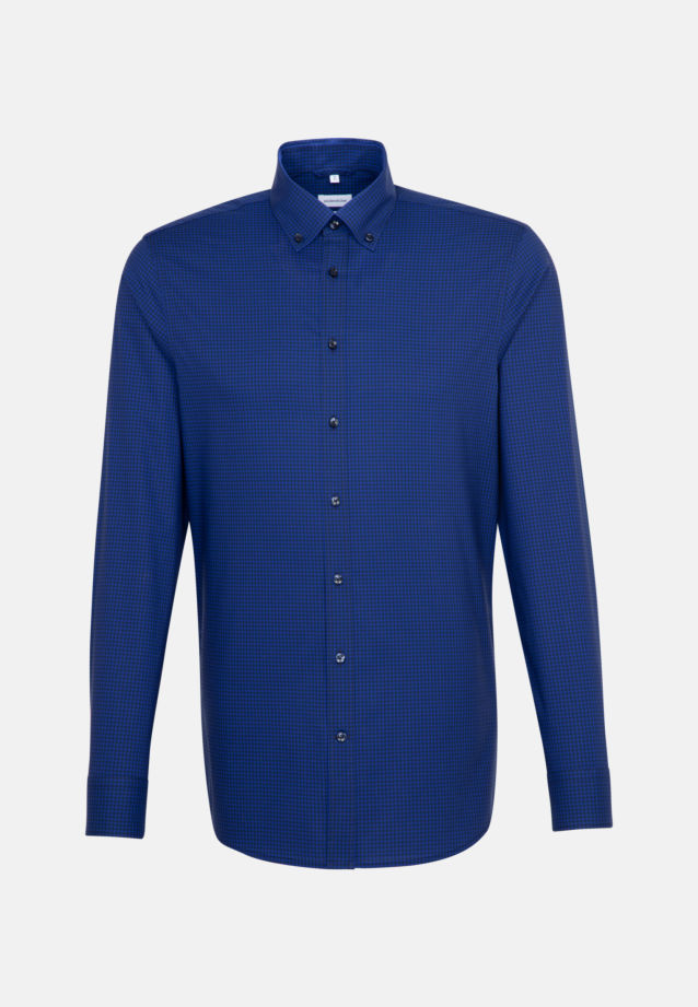 Non-iron Poplin Business Shirt in Slim with Button-Down-Collar in Medium blue |  Seidensticker Onlineshop