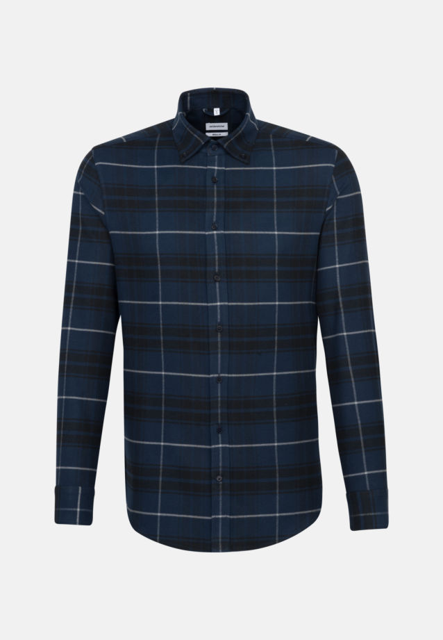 Flannel Business Shirt in Regular with Button-Down-Collar in Dark blue |  Seidensticker Onlineshop