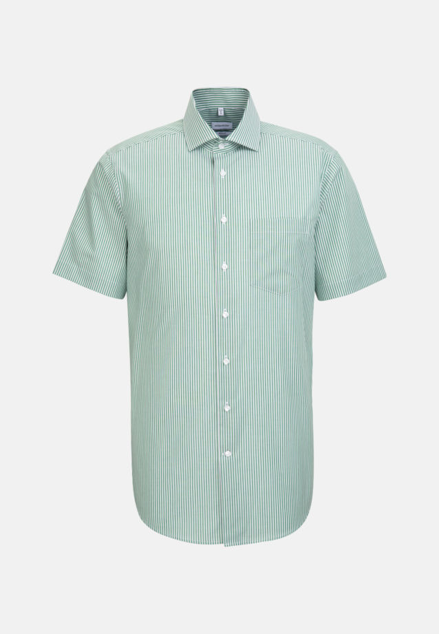Non-iron Poplin Short sleeve Business Shirt in Regular with Kent-Collar in Green |  Seidensticker Onlineshop