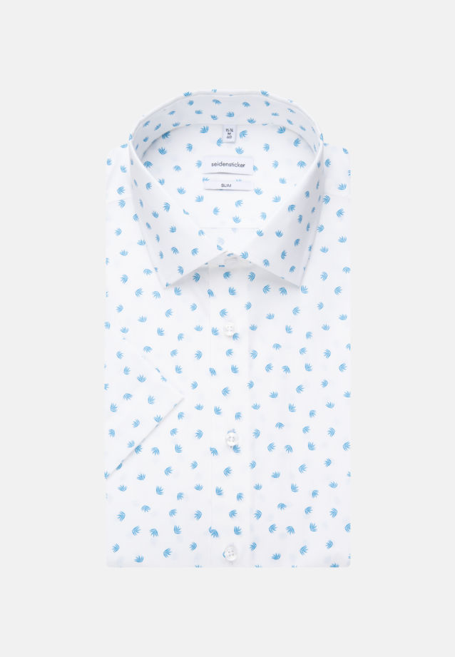 Easy-iron Poplin Short sleeve Business Shirt in Slim with Kent-Collar in Turquoise |  Seidensticker Onlineshop
