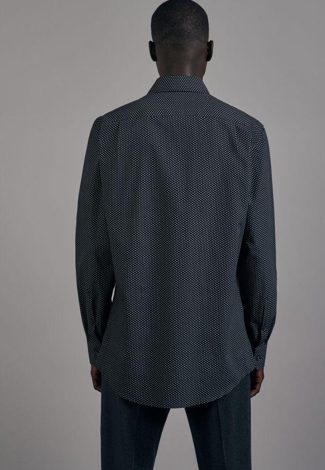 Bügelleichtes Popeline Business Hemd in Regular mit Kentkragen in Schwarz |  Seidensticker Onlineshop