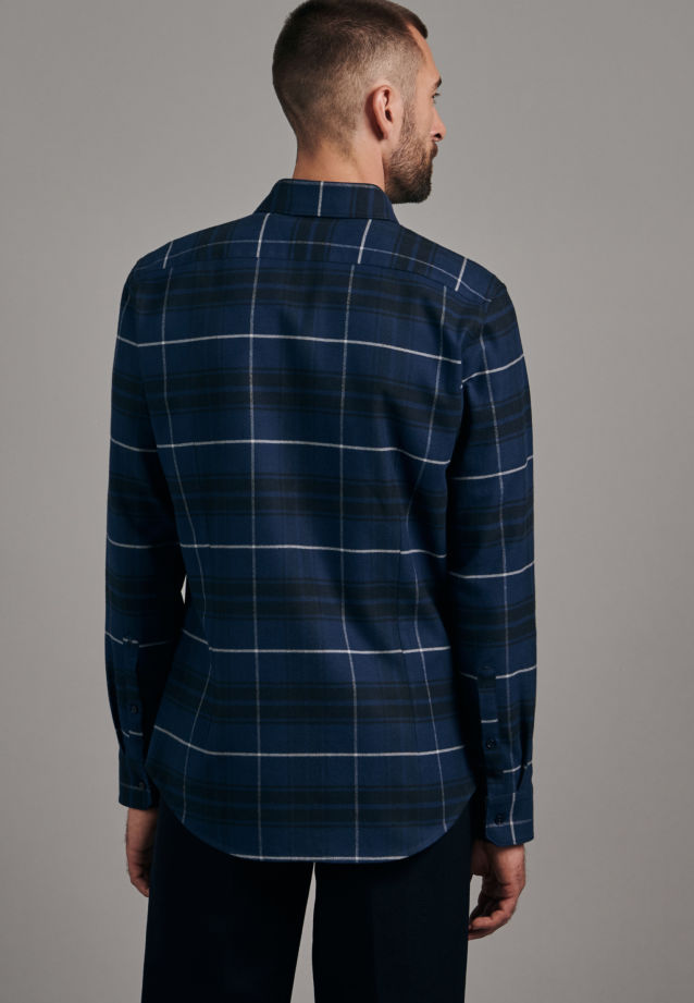 Flanell Business Hemd in Slim mit Button-Down-Kragen in Dunkelblau |  Seidensticker Onlineshop