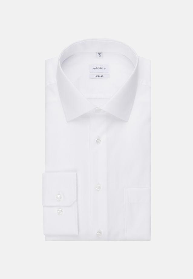 Bügelfreies Struktur Business Hemd in Regular mit Kentkragen und extra langem Arm in Weiß |  Seidensticker Onlineshop