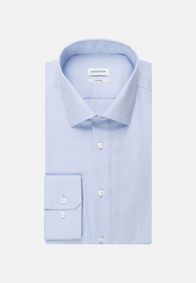 Non-iron Structure Business Shirt in Shaped with Kent-Collar and extra long sleeve in Light blue |  Seidensticker Onlineshop